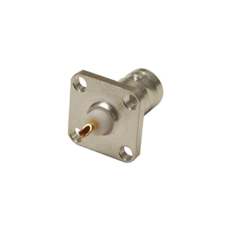 BNC Female Connector for panel 4 holes, Silver / Gold / PTFE.