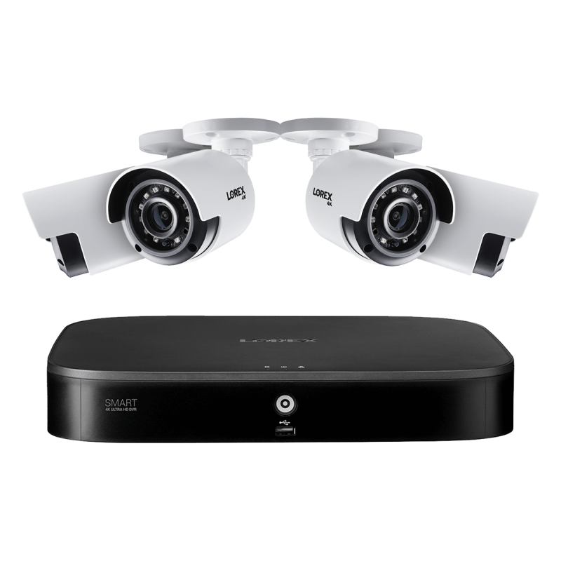 8-Channel Security System with Four 4K (8MP) Cameras featuring Smart Motion Detection and Color Night Vision