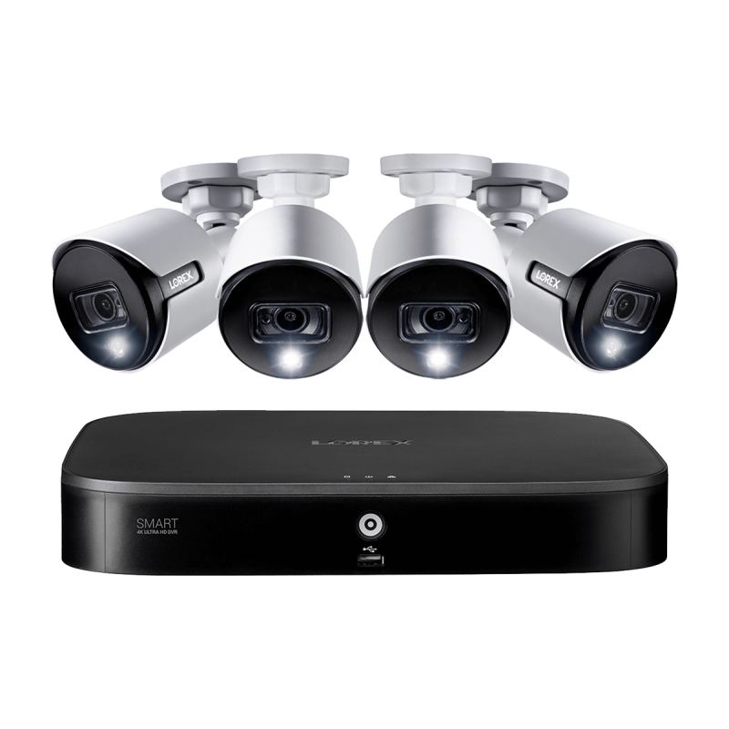 4K Ultra HD 8-Channel Security System with 4 Active Deterrence 4K (8MP) Cameras