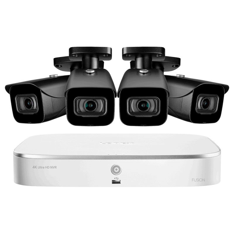 8-Channel Fusion NVR System with Four 4K (8MP) IP Cameras