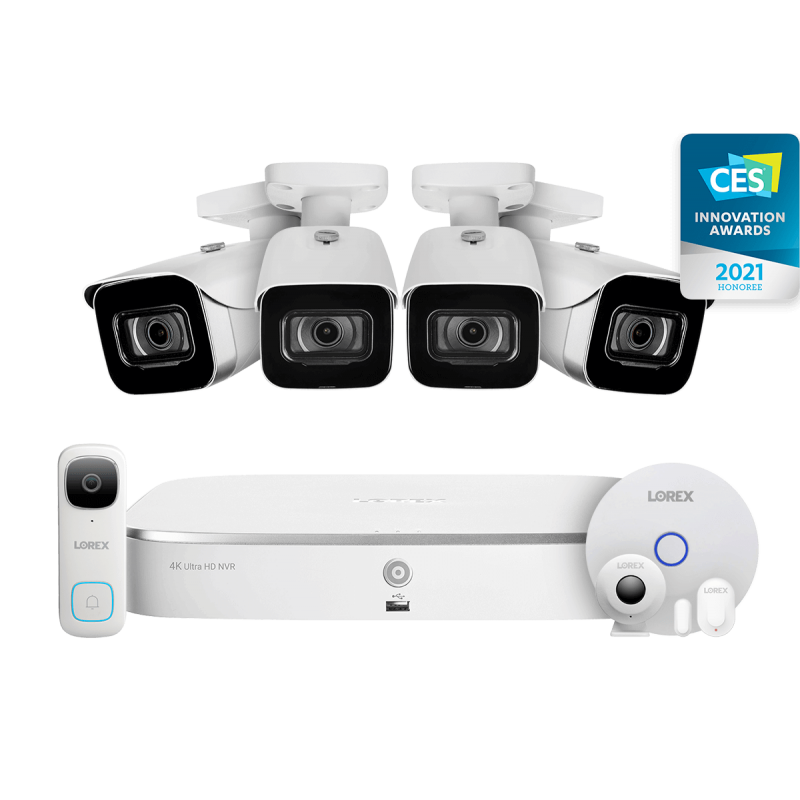 8-Channel NVR Fusion System with Four 4K (8MP) IP Cameras, 2K Wi-Fi Video Doorbell, and Smart Sensor Starter Kit