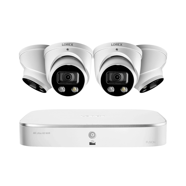 8-Channel 4K Fusion NVR System with 4 Smart Deterrence 4K (8MP) IP Dome Cameras