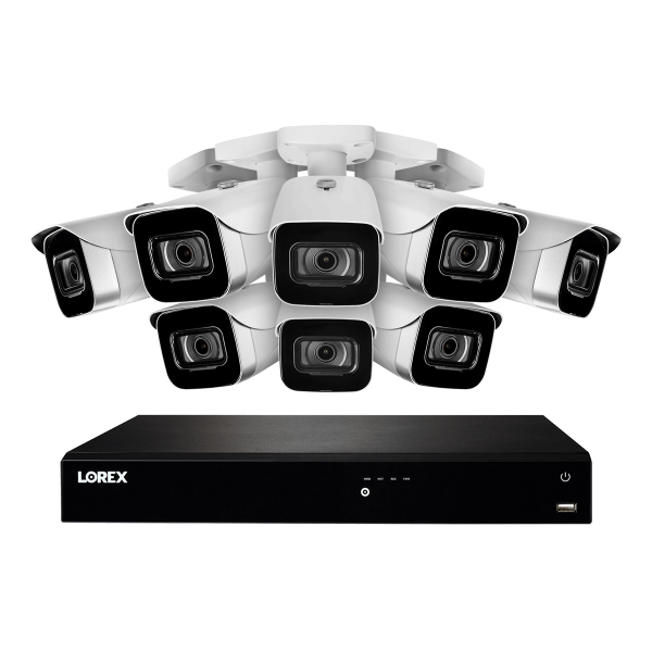 16-Channel Fusion NVR System with Eight 4K (8MP) IP Cameras