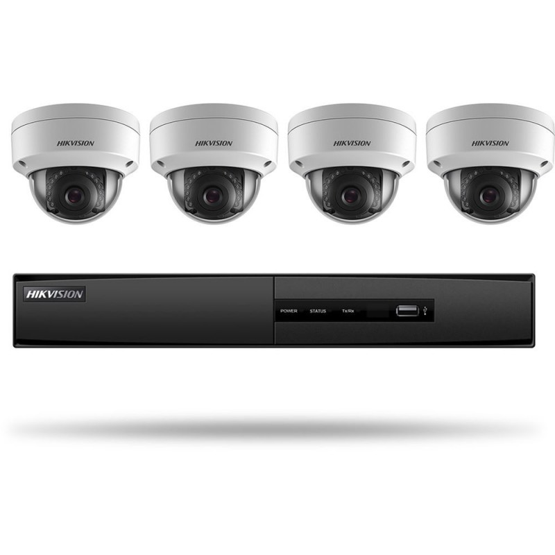 Hikvision USA I7604N1TA Hikvision Kit, 4 Ch Nvr with Poe, 1 Tb Storage, Four 2Mp Outdoor Dome W 2.8Mm Lens, H.264