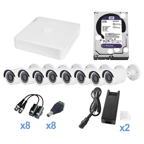 All in One TVI CCTV Kit / Includes 1 PURPLE 2TB HARD DIRVE, 720p 8 Channels DVR (P2P Compatible) / 8 Bullet Cameras