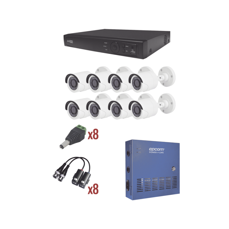 Video Surveillance 8 Channels Kit Turbo HD Technology