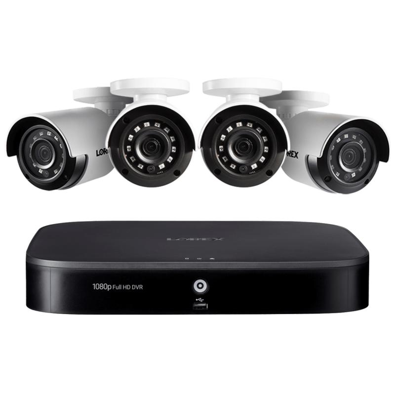 8-Channel Security System with Four 1080p HD Outdoor Cameras, Advanced Motion Detection and Smart Home Voice Control