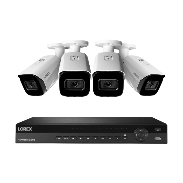 16-Channel Nocturnal NVR System with Four 4K (8MP) Smart IP Security Cameras with Real-Time 30FPS Recording and Listen-in Audio